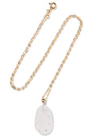 18-karat gold, stone and diamond necklace