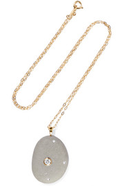 Kierkegaard 18-karat gold, stone and diamond necklace