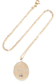 Crema 18-karat gold, stone and diamond necklace