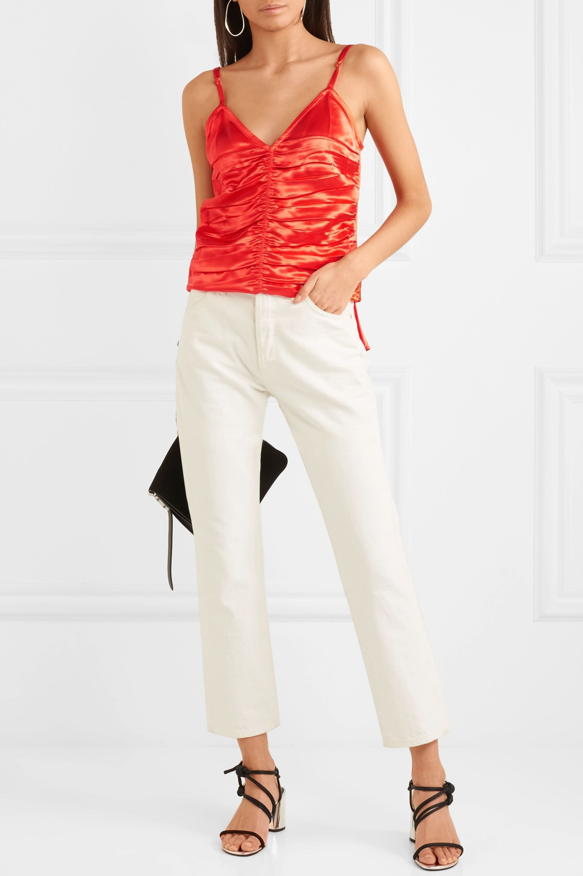 Helmut Lang Ruched satin camisole