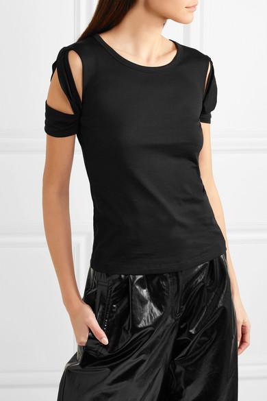 Helmut Lang T-Shirt aus Baumwoll-Jersey mit Cut-outs