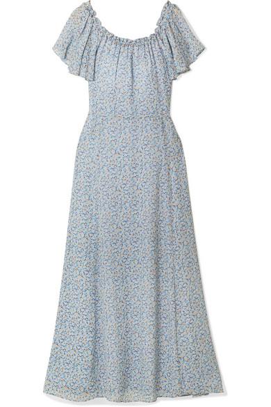 Popover Off-the-shoulder Ruffled Floral-print Silk-georgette Dress - Light blue LoveShackFancy 4hXAPBSwd