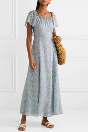 Evelyn one-shoulder ruffled printed silk-georgette maxi dress