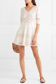 Paige crochet-trimmed broderie anglaise cotton mini dress
