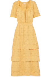 LoveShackFancy Heather tiered embroidered cotton midi dress