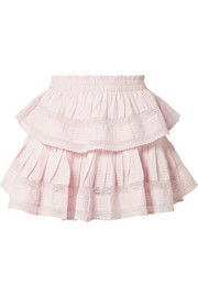 Ruffled lace-trimmed cotton-voile mini skirt