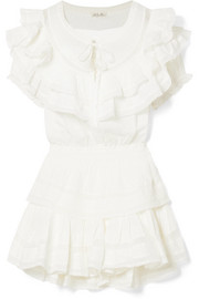 Liv ruffled crocheted lace-trimmed cotton mini dress