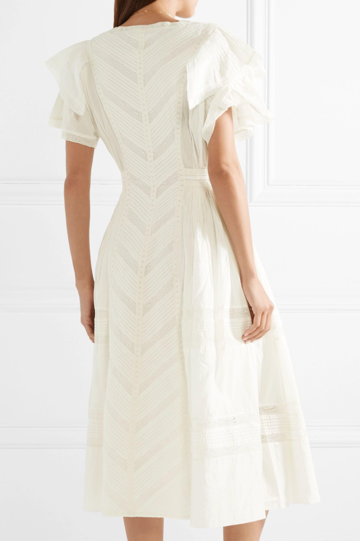 LoveShackFancy Callie ruffled crochet-paneled cotton midi dress