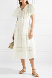 Callie ruffled crocheted lace-trimmed cotton midi dress