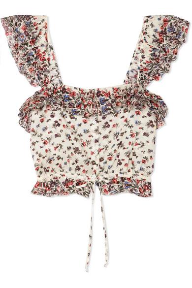 LoveShackFancy Mia verkürztes Baumwolloberteil mit floralem Print und Rüschen