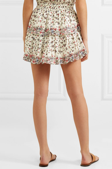 LoveShackFancy Gestufter Minirock aus Baumwolle mit floralem Print