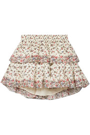 Tiered floral-print cotton mini skirt