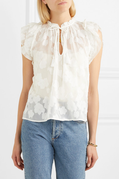 98755947c0 Reine ruffled silk and cotton-blend voile-jacquard blouse