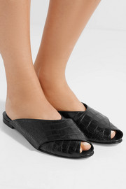 Pajama croc-effect leather sandals