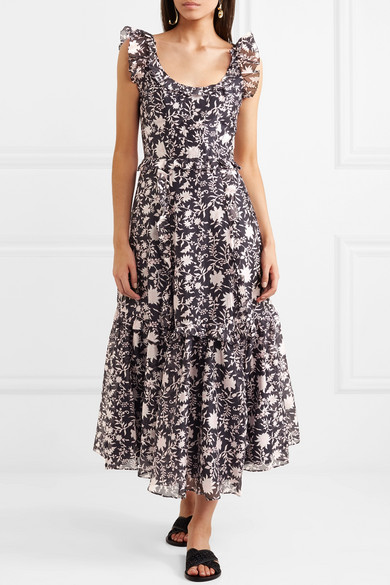 Brigitte Floral-print Cotton And Silk-blend Organza Midi Dress - Midnight blue Ulla Johnson 6m0aNb8en