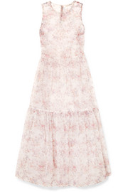 Ulla Johnson Polline tiered floral-print organza midi dress