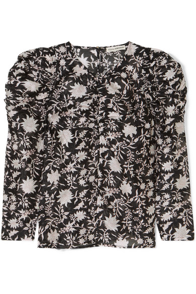 741d1a15332d0 Ulla Johnson - Posey Ruched Floral-print Cotton And Silk-blend Organza  Blouse - Midnight blue - Female First Shopping