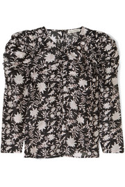 Posey ruched floral-print cotton and silk-blend organza blouse