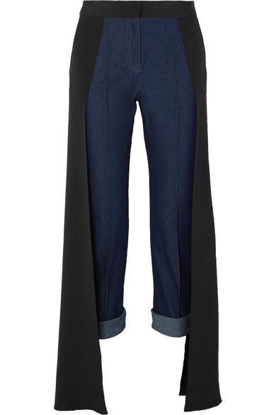 HELLESSY Smith silk-satin paneled high-rise straight-leg jeans