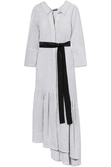 Hellessy HARLEY ASYMMETRIC RUFFLED TEXTURED-COTTON DRESS