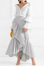Asymmetric ruffled textured-cotton maxi skirt