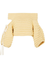 Bahia off-the-shoulder cutout ribbed cotton sweater
