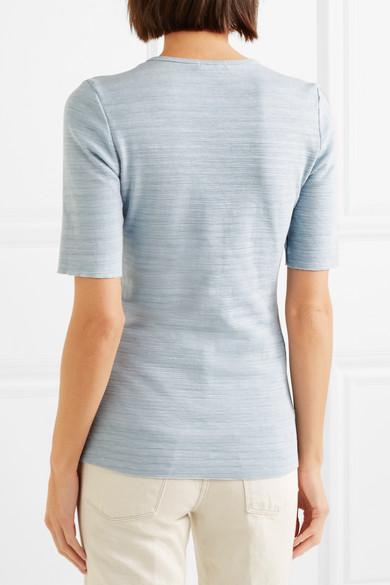 Bassike T-Shirt aus Baumwoll-Jersey mit Flammgarneffekt