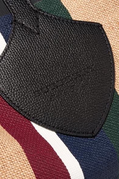 Burberry Tote aus Baumwoll-Canvas mit Streifen und Lederbesätzen