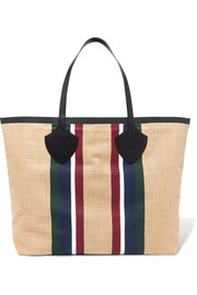 Leather-trimmed striped cotton-canvas tote