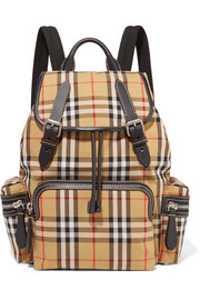 Leather-trimmed tartan canvas backpack