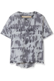 Raquel Allegra Distressed tie-dyed cotton-blend jersey T-shirt