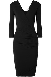 Wrap-effect ruched cotton-blend jersey dress
