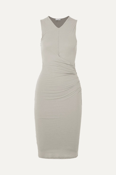 drapes dress and waist back draped papell adrianna jersey with regular keyhole embellished