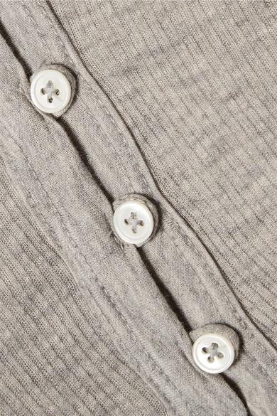 James Perse Oberteil aus einer gerippten Baumwoll-Kaschmirmischung