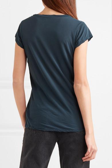James Perse T-Shirt aus Baumwoll-Jersey mit Flammgarneffekt