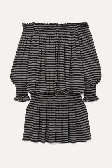 Norma Kamali Schulterfreies Minikleid aus Stretch-Jersey mit Streifen