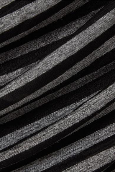 Norma Kamali Kleid aus gestreiftem Stretch-Jersey mit Raffungen