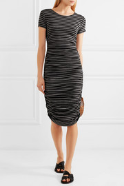 Norma Kamali Ruched striped stretch-jersey dress
