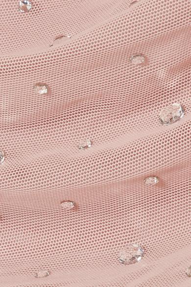 Norma Kamali Bill Mio Badeanzug aus gerafftem Tüll mit Kristallverzierung Visa-Zahlung Günstiger Preis Auslass Klassisch Spielraum 2018 dy25X4