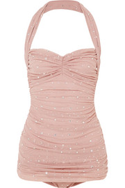 Norma Kamali Bill Mio crystal-embellished ruched tulle halterneck swimsuit