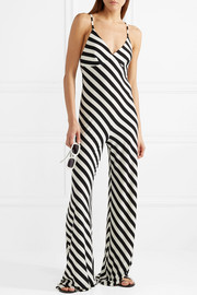 Norma Kamali Striped stretch-jersey jumpsuit