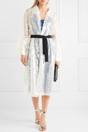 Norma Kamali Belted sequined tulle trench coat
