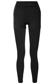 Pro Deluxe layered mesh-paneled stretch leggings