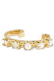 14-karat gold, diamond and pearl ear cuff