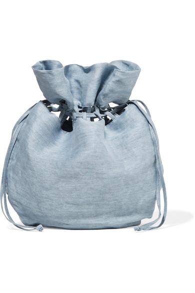 Poppy Lattice-trimmed Linen And Silk-blend Pouch - Light blue Cult Gaia gftmipUGX