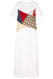 MM6 Maison Margiela Patchwork printed silk, voile and  cotton-jersey maxi dress