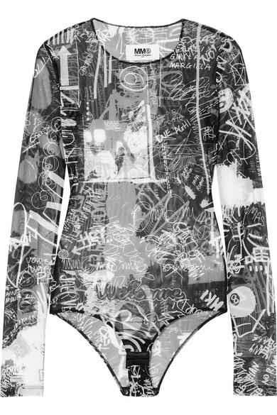MM6 Maison Margiela Body aus bedrucktem Stretch-Tüll