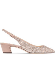Jimmy Choo Gemma 40 glittered leather slingback pumps