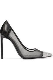 Swarovski crystal-embellished leather and mesh pumps