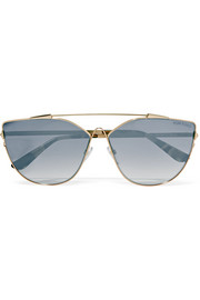TOM FORD Cat-eye gold-tone mirrored sunglasses